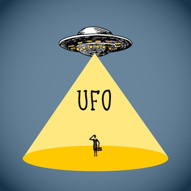 Ufo-poster schets Gratis Vector