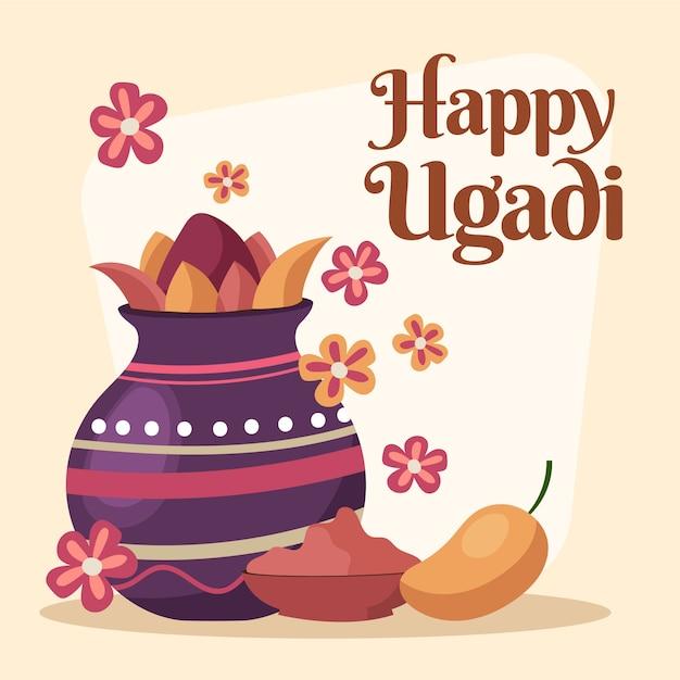Ugadi-evenement met hand getrokken ontwerp Gratis Vector