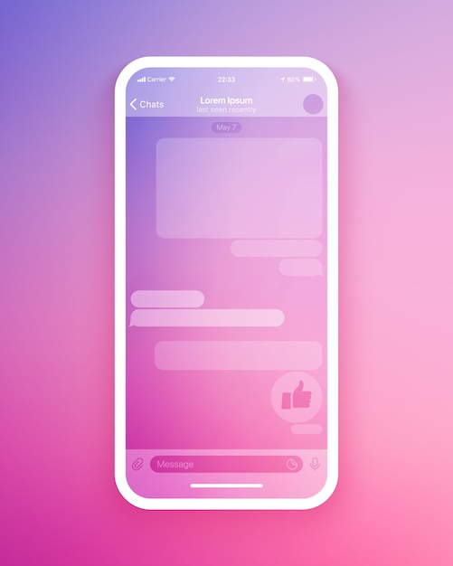 Ui-sjabloon voor mobiele chat-app Premium Vector