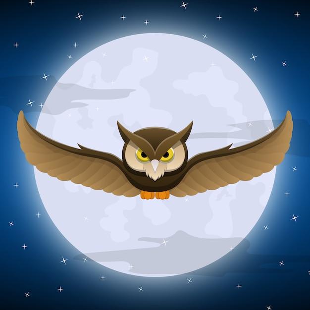 Uil die met volle maan en sterhemel vliegt Premium Vector