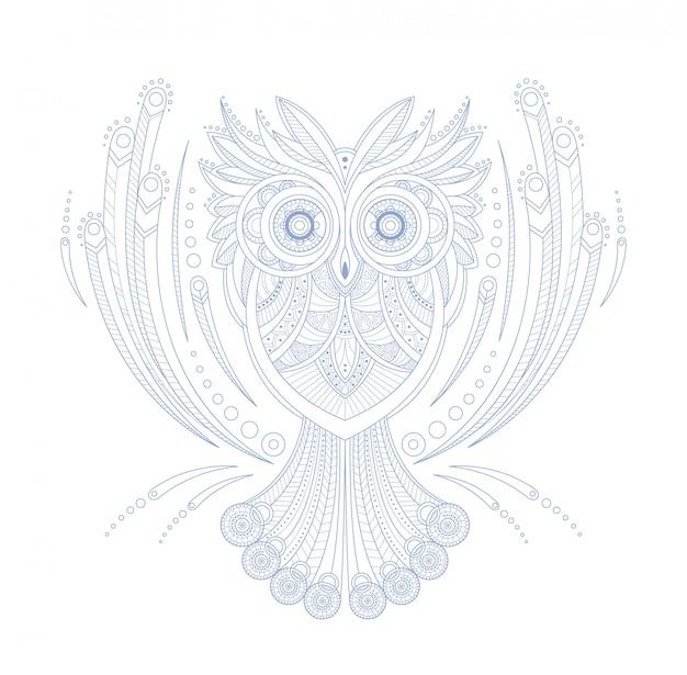 Uil gestileerde doodle zen kleurboekpagina Premium Vector