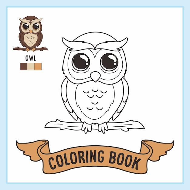 Uil kleurplaten boek dieren Premium Vector