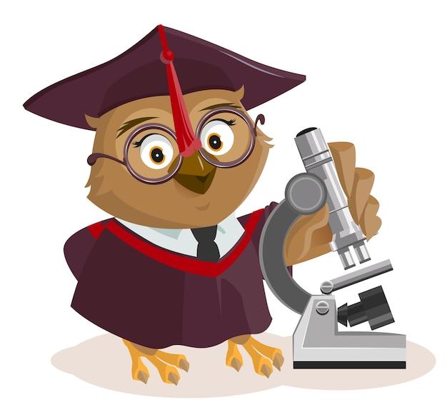 Uil leraar en microscoop. geïsoleerd op wit cartoon afbeelding Premium Vector