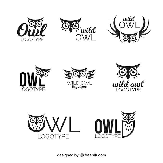 Uil logo set van acht Gratis Vector