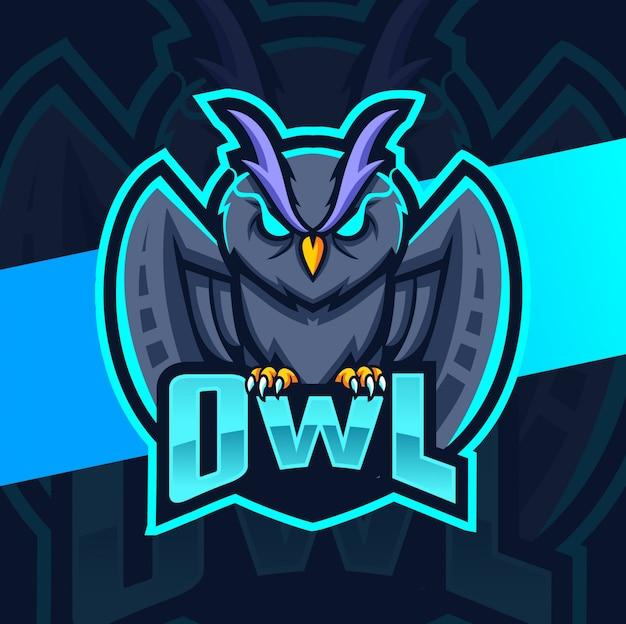 Uil mascotte esport logo Premium Vector