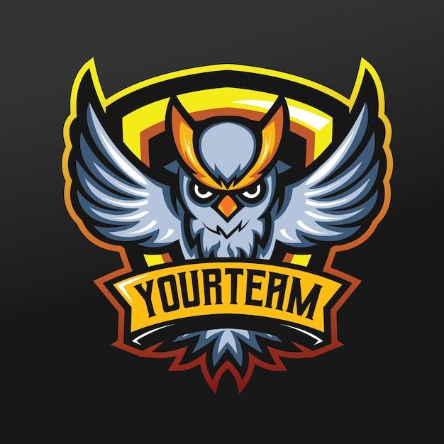 Uil met gele wenkbrauwmascotte sportillustratie voor logo esport gaming team squad Premium Vector