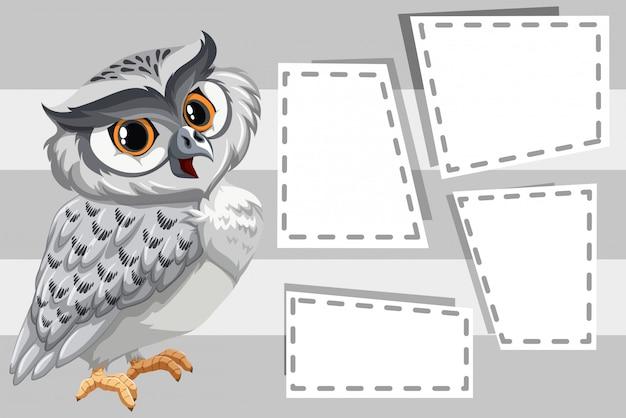 Uil op lege kaders met copyspace Gratis Vector