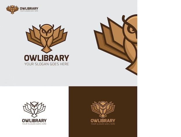 Uil vogel bibliotheek onderwijs logo Premium Vector