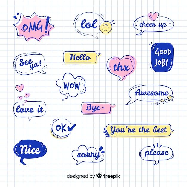 Uitdrukkingen tekenen in verzameling spraakballonnen Gratis Vector