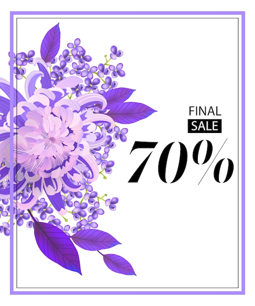 Uiteindelijke verkoop, zeventig procent flyer met bloem, lila en lijst. Gratis Vector