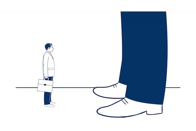 Uiterst kleine zakenman die vooruit op reusachtige benen van een andere zakenman kijkt. Premium Vector