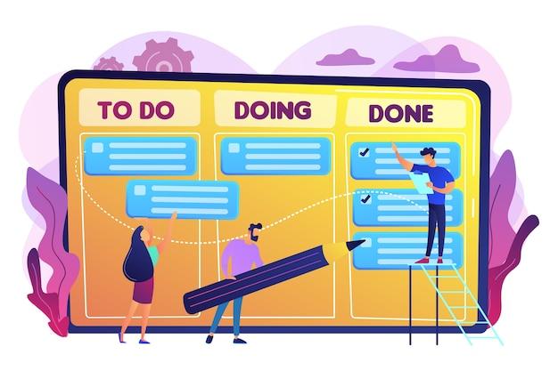 Uiterst kleine zakenmensen en manager bij de grafiek van de taken en doelstellingen. taakbeheer, tool voor projectmanagers, softwareconcept voor taakbeheer. heldere levendige violet geïsoleerde illustratie Gratis Vector