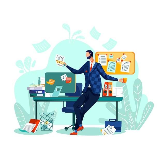 Uiterste termijn en tijdbeheer bedrijfsconceptenvector. de gelukkige arbeider zit bij bureau, Gratis Vector
