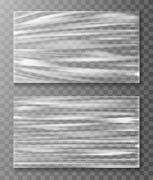 Uitgerekte cellofaanbanner verfrommelt textuur Gratis Vector