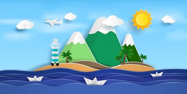 Uitgestrekt uitzicht op zee in de zomer en natuurlijke schoonheid Premium Vector
