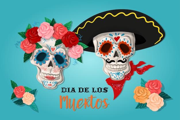 Uitnodiging aan de dag van het dode feest. dea de los muertos-kaart Premium Vector