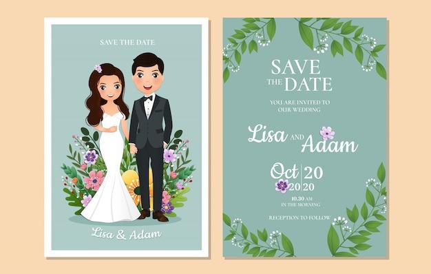 Uitnodiging bruiloft de bruid en bruidegom schattig paar stripfiguur. Premium Vector
