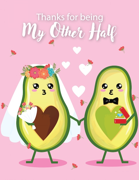 Uitnodiging bruiloft kaart leuke bruiloft dag avocado Premium Vector
