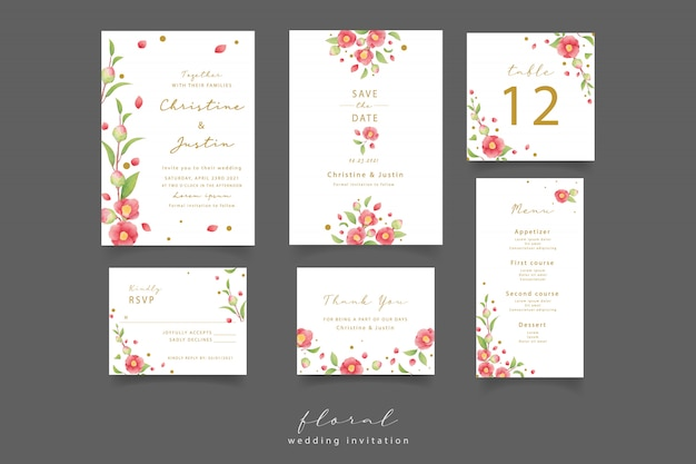 Uitnodiging bruiloft met aquarel camellia bloemen Premium Vector