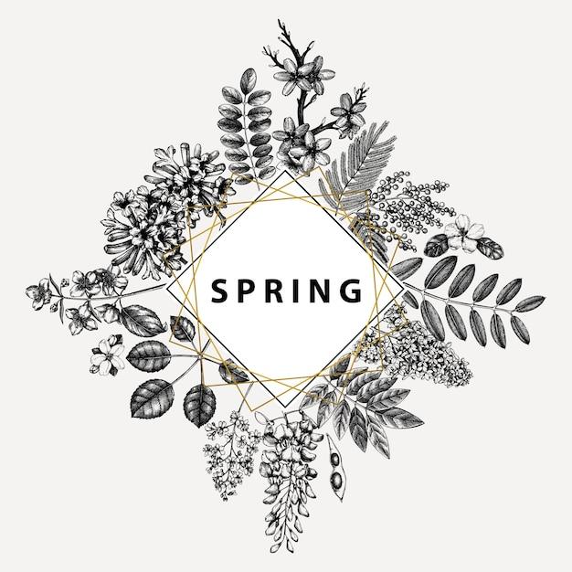 Uitnodiging bruiloft, rsvp, wenskaart. vintage frame met lentebomen met bloemen, bladeren, takken schetsen. elegant lente bloemen sjabloon - acacia, jasmijn, blauweregen, lila bomen Premium Vector