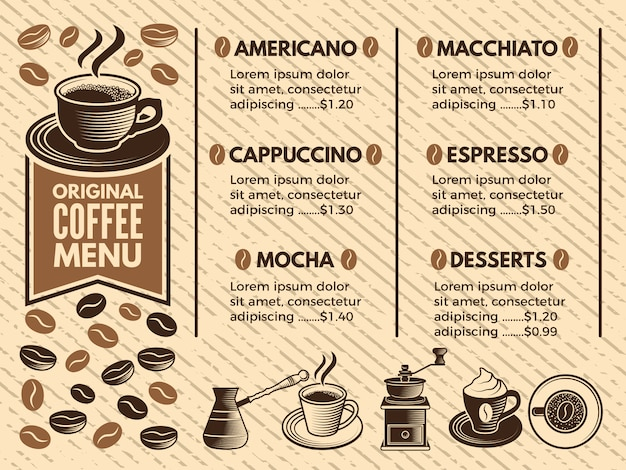 Uitnodiging in café. menu van koffiehuis. foto's in vectorstijl Premium Vector