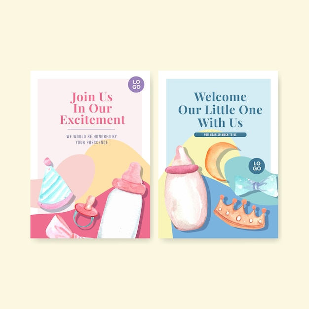 Uitnodiging kaartsjabloon met baby douche ontwerp concept aquarel vectorillustratie. Gratis Vector