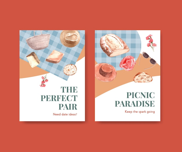 Uitnodiging kaartsjabloon met europese picknick conceptontwerp voor feest en bijeenkomst aquarel illustratie. Gratis Vector