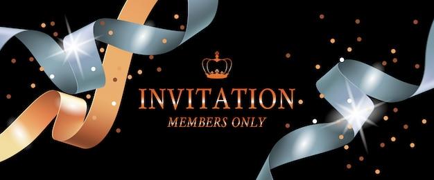 Uitnodiging leden alleen banner Gratis Vector