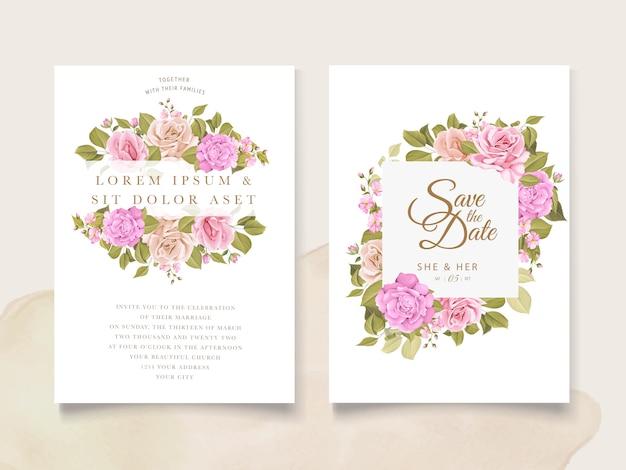 Uitnodiging ontwerp met bloemenkrans Gratis Vector