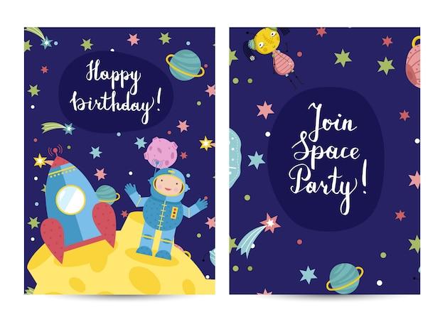 Uitnodiging op kinderen gekostumeerde verjaardagspartij Premium Vector
