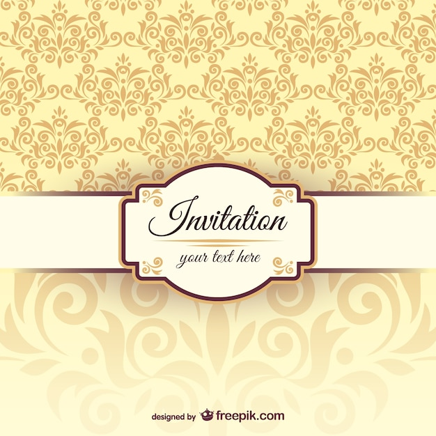Uitnodiging sjabloon met damastpatroon Gratis Vector