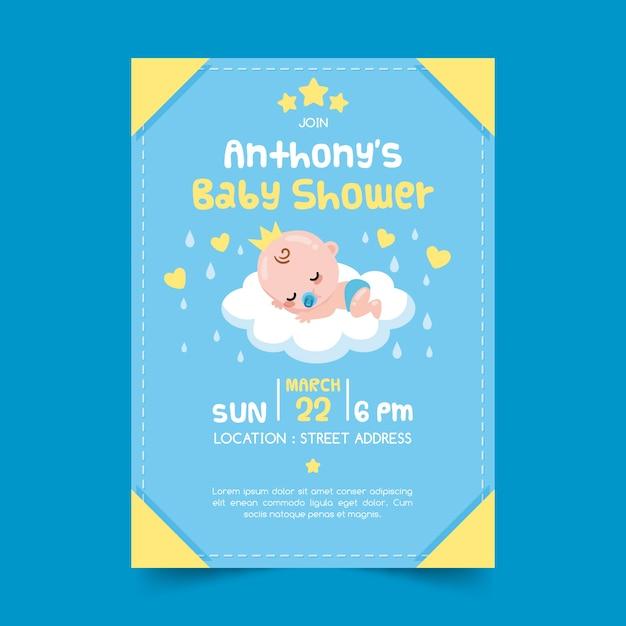 Uitnodiging sjabloon voor jongen babydouche Gratis Vector