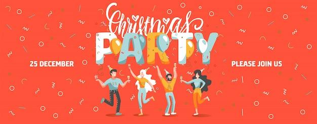 Uitnodiging ticket sjabloon voor kerstfeest met grappige mensen dansen en drinken van wijn. Premium Vector