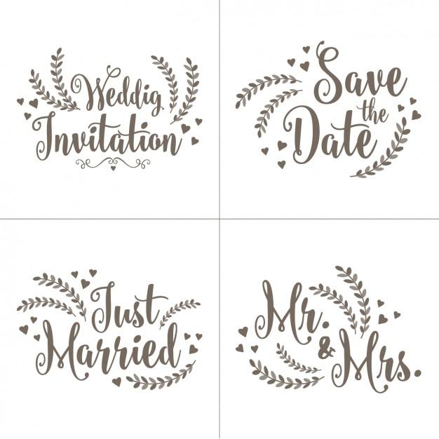Uitnodiging van het huwelijk beletteringen ingesteld Gratis Vector