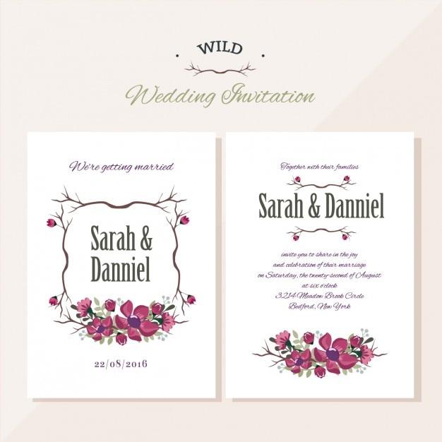 Uitnodiging van het huwelijk bloemdessin Gratis Vector