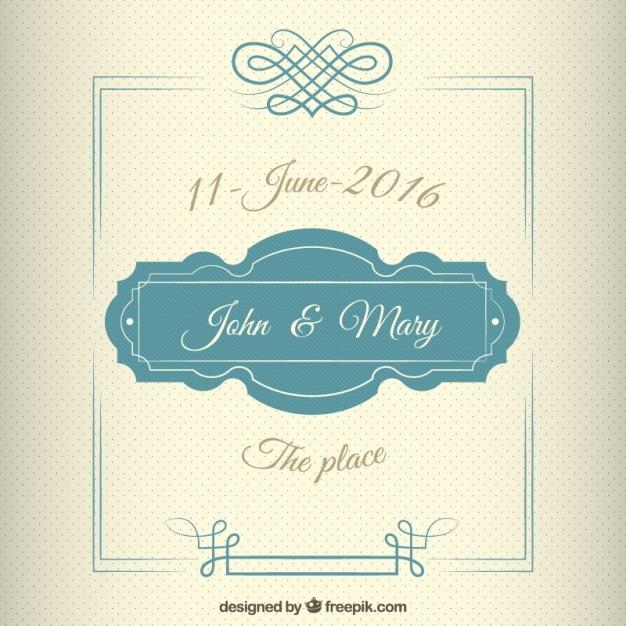 Uitnodiging van het huwelijk in vintage stijl met een schattig montuur Gratis Vector