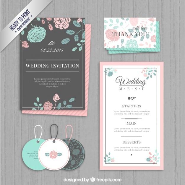 Uitnodiging van het huwelijk, labels en menu Gratis Vector