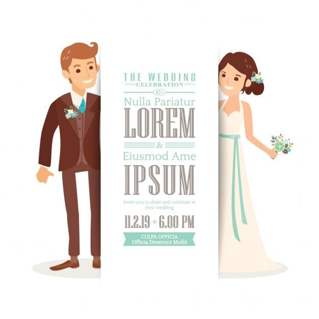 uitnodiging van het huwelijk met een leuke bruid en bruidegom Gratis Vector