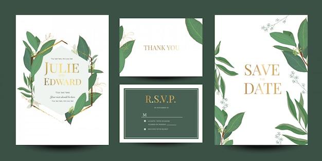 Uitnodiging van het huwelijksuitnodiging de bloemenontwerp Premium Vector