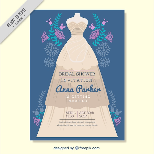 Uitnodiging van het vrijgezellenfeest met paarse bloemen en trouwjurk Gratis Vector