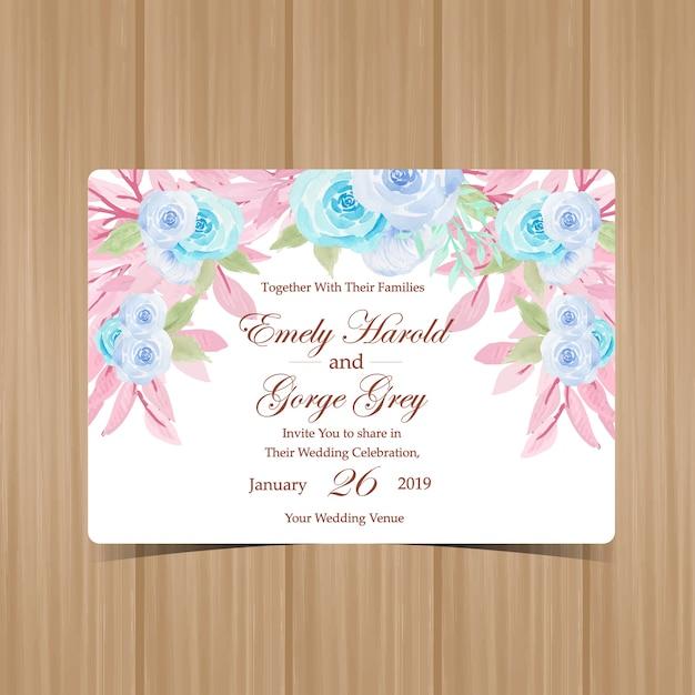 Uitnodiging van het waterverf de bloemenhuwelijk met pastelkleurrozen Premium Vector