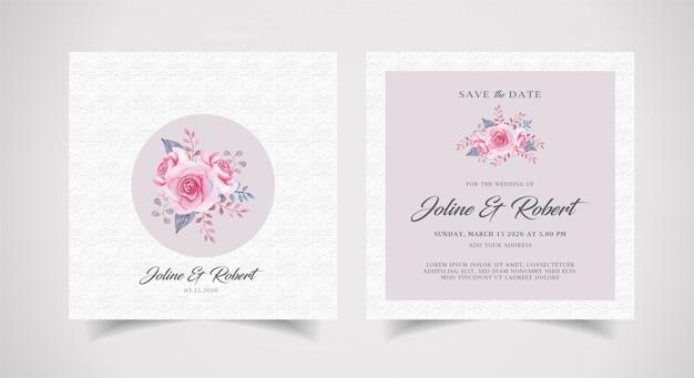 Uitnodiging van het waterverf de bloemenhuwelijk met textuur achtergrondmalplaatje Premium Vector