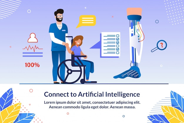 Uitnodiging verbinden met kunstmatige intelligentie. Premium Vector