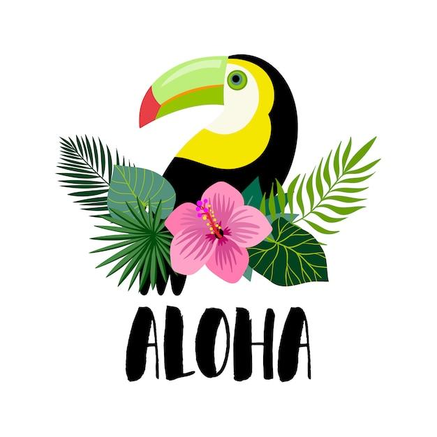 Uitnodiging voor aloha met toekan, exotische planten en handschrift Premium Vector