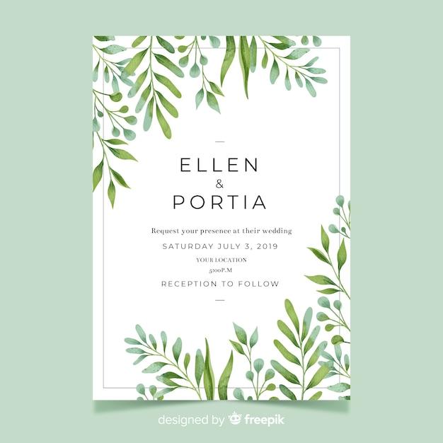 Uitnodiging voor bruiloft met aquarel bladeren Gratis Vector