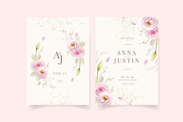 Uitnodiging voor bruiloft met aquarel roze rozen Gratis Vector