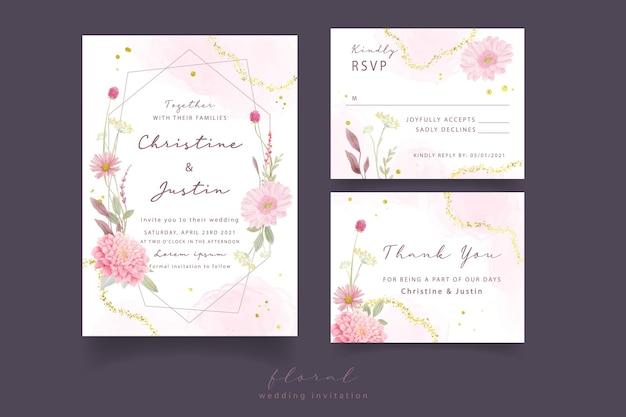 Uitnodiging voor bruiloft met aquarel rozen, dahlia en gerbera bloemen Gratis Vector