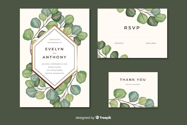 Uitnodiging voor bruiloft met bladeren aquarel stijl Gratis Vector