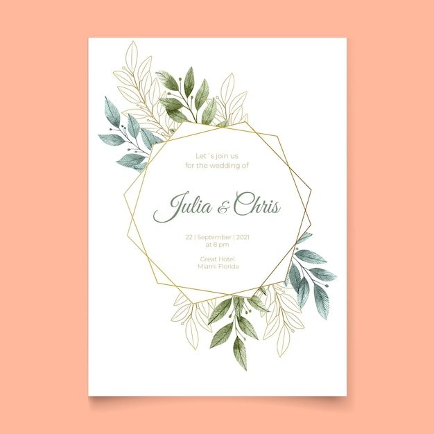 Uitnodiging voor bruiloft met bladeren en gouden frame Gratis Vector