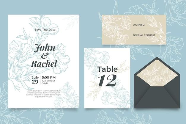 Uitnodiging voor bruiloft met bloemmotief Gratis Vector